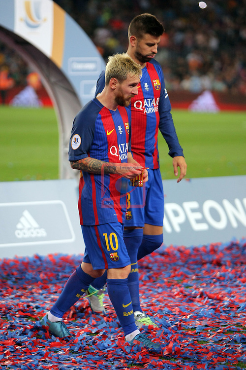 League Santander 2016/2017.<br /> Supercopa de Espa&ntilde;a - Vuelta.<br /> FC Barcelona vs Sevilla FC: 3-0.<br /> Lionel Messi &amp; Gerard Pique.
