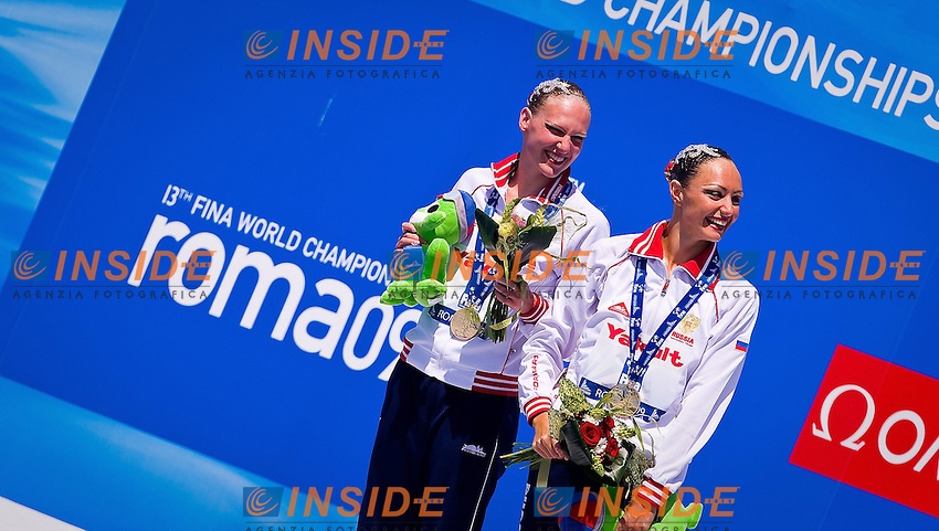 Roma 21th July 2009 - 13th Fina World Championships From 17th to 2nd August 2009.Synchronized swimming - Technical duet finals.The podium:  Russia (Gold medal) ..photo: Roma2009.com/InsideFoto/SeaSee.com