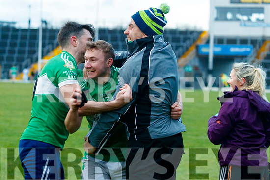 James O'Donoghue Legion Celebrates with manager Stephen Stack after his team won the O'Donoghue cup final after defeating Dr Crokes at Fitzgerald Stadium on Sunday.