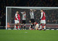 Newcastle United players rue a missed chance during the Premier League match between Arsenal and Newcastle United at the Emirates Stadium, London, England on 16 December 2017. Photo by Vince  Mignott / PRiME Media Images.