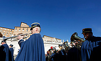 Vatican Gendarmerie's music band perform in St. Peter's Square before the Pope Francis' Urbi et Orbi (In Latin 'to the city and to the world') Christmas' day blessing from the central loggia of St. Peter's Basilica at the Vatican, December 25, 2018.<br /> UPDATE IMAGES PRESS/Riccardo De Luca<br /> <br /> STRICTLY ONLY FOR EDITORIAL USE