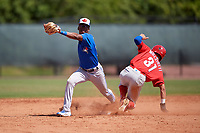 Toronto Blue Jays second baseman Samad Taylor (20) stretches for a throw as Simon Muzziotti (31) slides in during a Minor League Spring Training game against the Philadelphia Phillies on March 29, 2019 at the Carpenter Complex in Clearwater, Florida.  (Mike Janes/Four Seam Images)