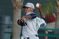 Lynchburg Hillcats pitcher Jared Robinson (6) throwing in the bullpen before a game against the Myrtle Beach Pelicans at Ticketreturn Field at Pelicans Ballpark on April 14, 2017 in Myrtle Beach, South Carolina. Lynchburg defeated Myrtle Beach 5-2. (Robert Gurganus/Four Seam Images)