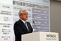 May 18, 2016, Tokyo, Japan - Toshiaki Higashihara, president of Japanese electronics giant Hitachi announces the company's midterm business strategy in Tokyo on Wednesday, May 18, 2016. Hitachi will invest a total of 1 trillion yen for growth business in three years.  (Photo by Yoshio Tsunoda/AFLO)
