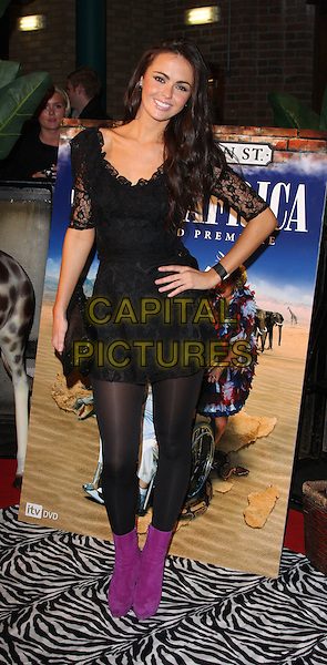 "JENNIFER METCALFE.Coronation Street ""Out Of Africa"" DVD Premiere at Odeon Cinema, The Printworks, Manchester, England..November 4th, 2008.full length black lace dress tights purple boots clutch bag hand on hip .CAP/ROS.©Steve Ross/Capital Pictures."