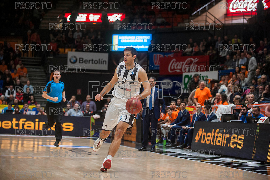 VALENCIA, SPAIN - JANUARY 6: Milenko Tepic during EUROCUP match between Valencia Basket and PAOK Thessaloniki at Fonteta Stadium on January 6, 2015 in Valencia, Spain