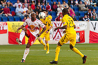 Jamison Olave (4) of the New York Red Bulls steadies the ball. The New York Red Bulls and the Columbus Crew played to a 2-2 tie during a Major League Soccer (MLS) match at Red Bull Arena in Harrison, NJ, on May 26, 2013.