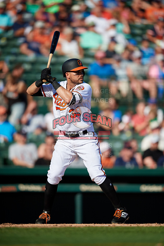 Baltimore Orioles third baseman Renato Nunez (39) at bat during a Grapefruit League Spring Training game against the Detroit Tigers on March 3, 2019 at Ed Smith Stadium in Sarasota, Florida.  Baltimore defeated Detroit 7-5.  (Mike Janes/Four Seam Images)