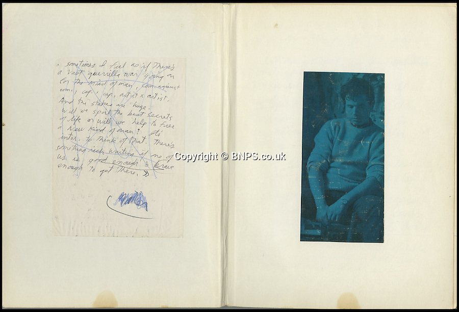 BNPS.co.uk (01202 558833)<br /> Picture: ProfilesInHistory/BNPS<br /> <br /> ****Please use full byline****<br /> <br /> A never-seen-before notebook containing the last drug-fueled ramblings of tragic rock icon Jim Morrison is for sale for £200,000.<br /> <br /> The philosophical musings were scrawled by the Doors' frontman in the weeks leading up to his mysterious death in a bathtub in 1971 aged just 27.<br /> <br /> It is being sold by Graham Nash of Crosby, Stills and Nash fame, and goes under the hammer at Profiles in History in Los Angeles.