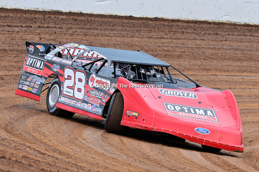 May 22, 2014; 5:50:42 PM; Wheatland, Mo., USA; The  Lucas Oil Late Model Dirt Series running the 22nd Annual Lucas Oil Show-Me 100 Presented by ProtectTheHarvest.com.  Mandatory Credit: (thesportswire.net)