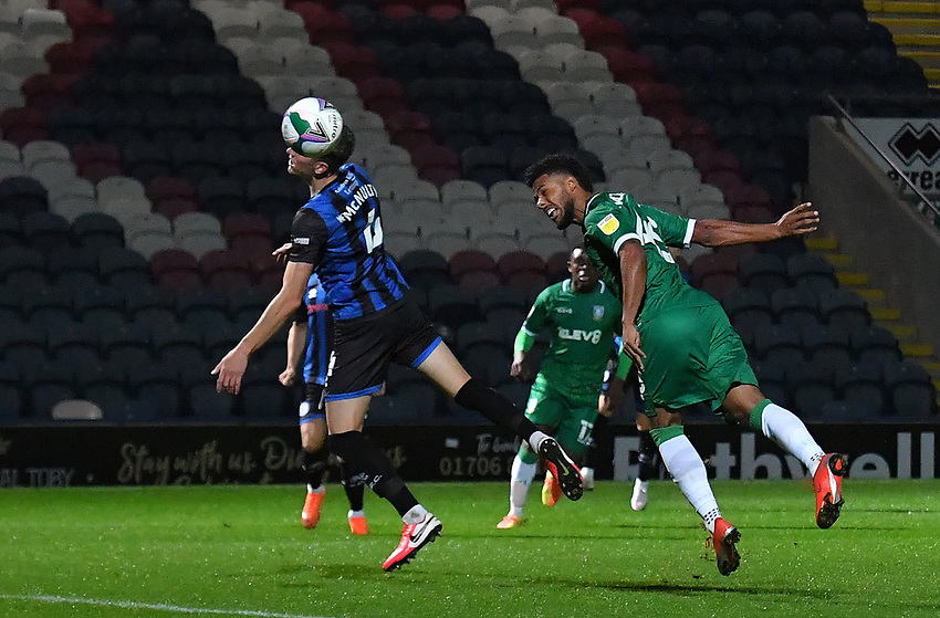 This time, Sheffield Wednesday's Elias Kachunga's reader goes in to score his team's opening goal<br /> <br /> Photographer Dave Howarth/CameraSport<br /> <br /> Carabao Cup Second Round Northern Section - Rochdale v Sheffield Wednesday - Tuesday 15th September 2020 - Spotland Stadium - Rochdale<br />  <br /> World Copyright © 2020 CameraSport. All rights reserved. 43 Linden Ave. Countesthorpe. Leicester. England. LE8 5PG - Tel: +44 (0) 116 277 4147 - admin@camerasport.com - www.camerasport.com
