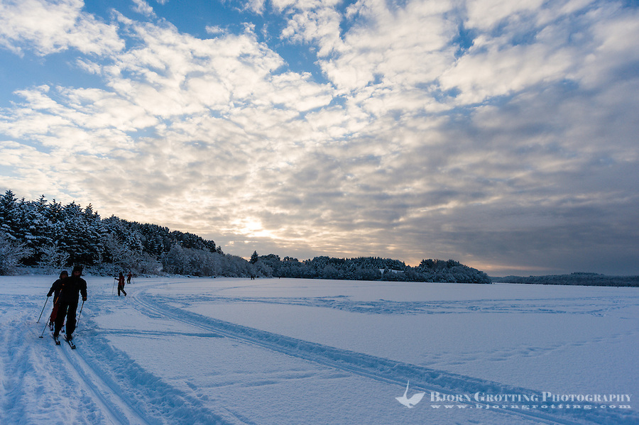 Norway, Stavanger. Skiing on Store Stokkavatn, close to the center of Stavanger.