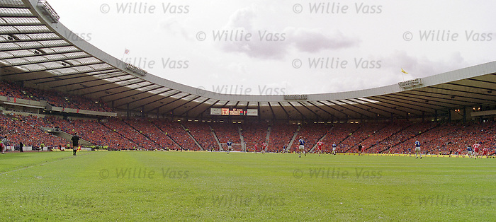 Rangers fans turn Hampden park Orange as they salute their Dutch connection in the Scottish Cup Final of 2000