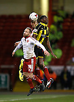 Alex Baptiste of Sheffield Utd and Matt Done of Sheffield Utd close out Lucas Akins of Burton Albion - English League One - Sheffield Utd vs Burton Albion - Bramall Lane Stadium - Sheffield - England - 1st March 2016 - Pic Simon Bellis/Sportimage