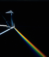 SPECTRUM: LIGHT REFRACTED BY A PRISM<br /> The various wavelengths of visible light, a small part of the electromagnetic spectrum, are separated because the refractive index of the prism substance varies for the different wavelengths.