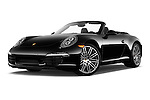 Stock pictures of low aggressive front three quarter view of 2016 Porsche 911 Black Edition 2 Door convertible Low Aggressive