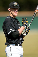 Wake Forest first baseman Allan Dykstra (10) prior to taking on Virginia at Gene Hooks Stadium in Winston-Salem, NC, Friday, March 9, 2007.  The Demon Deacons upset the #4 Cavaliers 8-3.