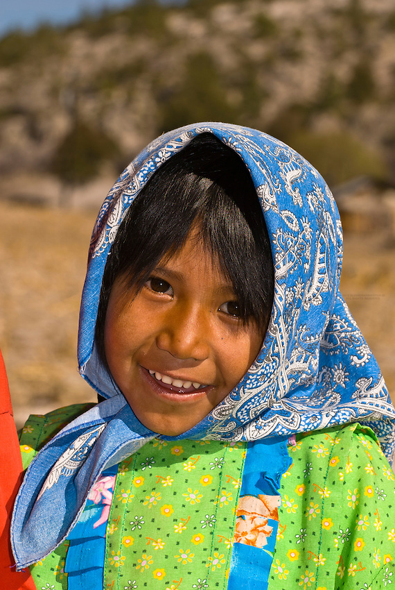 tarahumara indian girl wearing colorful native costume