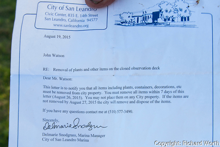 Notice to John Watson ordering removal of his ad-hoc garden on the closed observation deck at the San Leandro Marina.