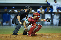 Johnson City Cardinals catcher Aaron Antonini (53) frames a pitch as home plate umpire Lane Culipher looks on during the game against the Burlington Royals at Burlington Athletic Stadium on September 4, 2019 in Burlington, North Carolina. The Cardinals defeated the Royals 8-6 to win the 2019 Appalachian League Championship. (Brian Westerholt/Four Seam Images)