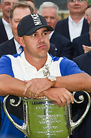 Brooks Koepka (USA) rests on the trophy after winning the  2019 PGA Championship, Bethpage Black Golf Course, New York, New York,  USA. 5/19/2019.<br /> Picture: Golffile | Ken Murray<br /> <br /> <br /> All photo usage must carry mandatory copyright credit (© Golffile | Ken Murray)