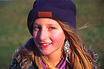 A07WN2 Young girl in winter wearing hat