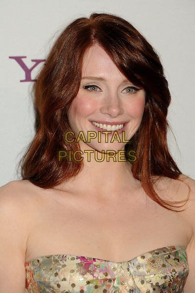 BRYCE DALLAS HOWARD.14th Annual Hollywood Awards Gala Presented By Starz held at The Beverly Hilton Hotel, Beverly Hills, CA, USA. .October 25th, 2010 .headshot portrait gold print strapless smiling .CAP/ADM/BP.©Byron Purvis/AdMedia/Capital Pictures