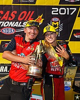 Aug 20, 2017; Brainerd, MN, USA; NHRA top fuel driver Leah Pritchett celebrates with crew after winning the Lucas Oil Nationals at Brainerd International Raceway. Mandatory Credit: Mark J. Rebilas-USA TODAY Sports
