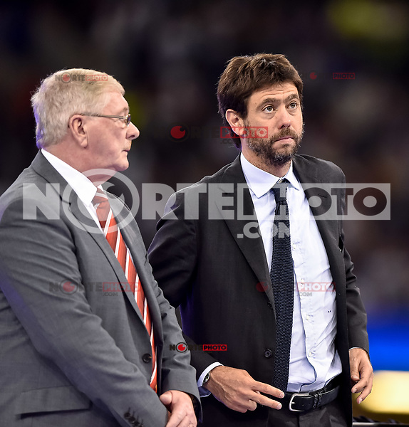 Andrea Agnelli president of Juventus during the UEFA Champions League Final match between Real Madrid and Juventus at the National Stadium of Wales, Cardiff, Wales on 3 June 2017. Photo by Giuseppe Maffia.<br /> <br /> Giuseppe Maffia/UK Sports Pics Ltd/Alterphotos /nortephoto.com