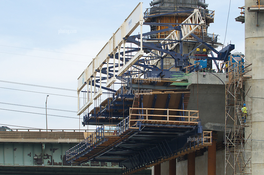 East Tower and Cast-in-place Hollow Box Girder, New Pearl Harbor Memorial Bridge under Construction at New Haven Harbor Crossing, Connectictut. CONNDOT Contract B, Project #92-618. When complete the alternately named Quinnipiac River Bridge will be first Extradosed Engineered & Designed Bridge in the United States.