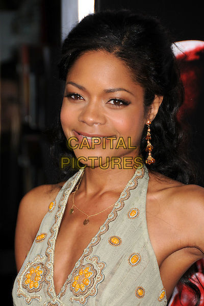 "NAOMIE HARRIS.""Street Kings"" Los Angeles Premiere at Grauman's Chinese Theatre, Hollywood, California, USA..April 3rd, 2008.headshot portrait halterneck green gold yellow earrings .CAP/ADM/BP.©Byron Purvis/AdMedia/Capital Pictures."