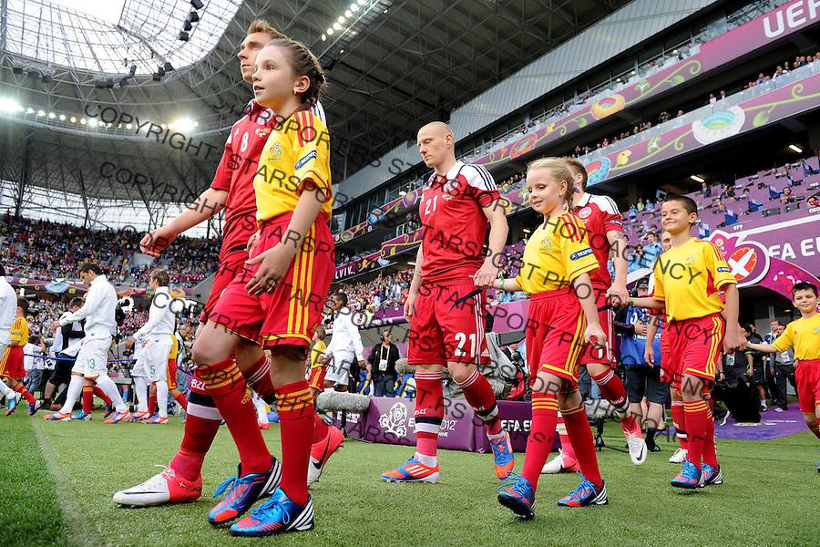 13.06.2012 LWOW - STADION ARENA LWOW ( LVIV UKRAINE STADIUM ARENA LVIV ) PILKA NOZNA ( FOOTBALL ) MISTRZOSTWA EUROPY W PILCE NOZNEJ UEFA EURO 2012 ( EUROPEAN CHAMPIONSHIPS UEFA EURO 2012 ) GRUPA B ( POOL B ) MECZ DANIA - PORTUGALIA ( GAME DENMARK - PORTUGAL ).NZ CHRISTIAN ERIKSEN , NIKI ZIMLING .FOTO MICHAL STANCZYK / CYFRASPORT/NEWSPIX.PL.---.Newspix.pl