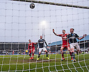 Aberdeen's Niall McGinn's shot (not in picture) bounces up off the line.