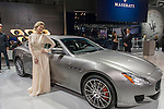 A silver Maserati Quattroporte 2017 sedan is on display during the first day, Press Preview Day one, of the New York International Auto Show, NYIAS, at the Jacob Javits Center. The Trade Show is open to the public for ten days, March 25th through April 3rd.
