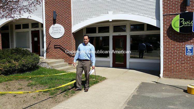 MIDDLEBURY, CT:18 April 2016:041816BB01:MIDDLEBURY ---- Andy Adames, owner of Ceviche Latin Kitchen in Village Square, 530 Middlebury Road, stands where his restaurant's new patio will be. Bill Bittar Republican-American