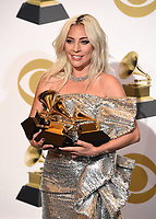 LOS ANGELES - FEBRUARY 10: Lady Gaga, winner of the awards for Best Pop Solo Performance for 'Joanne (Where Do You Think You're Goin'?)' Best Pop Duo/Group Performance for 'Shallow,' and Best Song Written for Visual Media for 'Shallow' in the press room at the 61st Grammy Awards at Staples Center on February 10, 2019 in Los Angeles, California. (Photo by Frank Micelotta/PictureGroup)
