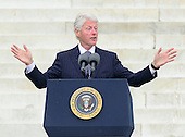 Former United States  President Bill Clinton makes remarks at the Let Freedom Ring ceremony on the steps of the Lincoln Memorial to commemorate the 50th Anniversary of the March on Washington for Jobs and Freedom<br /> Credit: Ron Sachs / CNP