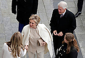 Former President of the United States Bill Clinton and former Secretary of State Hillary Clinton arrive near the east front steps of the Capitol Building before President-elect Donald Trump is sworn in at the 58th Presidential Inauguration on Capitol Hill in Washington, D.C. on January 20, 2017.  <br /> Credit: John Angelillo / Pool via CNP