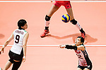Setter Miya Sato of Japan (R) pass during the FIVB Volleyball World Grand Prix match between China vs Japan on July 21, 2017 in Hong Kong, China. Photo by Marcio Rodrigo Machado / Power Sport Images