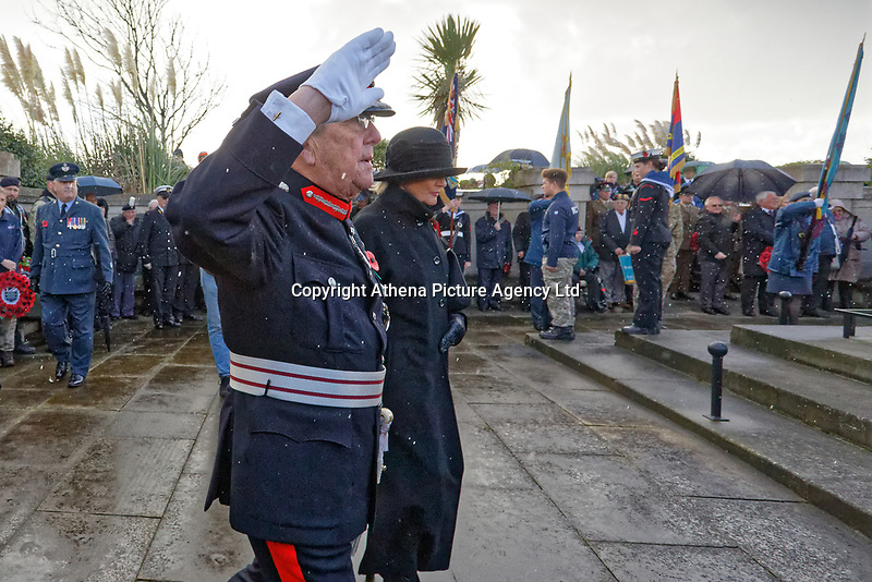 Pictured: Morfudd Meredith, Her Majesty's Lord-Lieutenant of South Glamorgan arrives for the service. Sunday 11 November 2018<br /> Re: Commemoration for the 100 years since the end of the First World War on Remembrance Day at the Swansea Cenotaph in south Wales, UK.