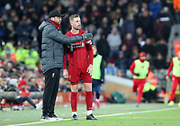 30th November 2019; Anfield, Liverpool, Merseyside, England; English Premier League Football, Liverpool versus Brighton and Hove Albion; Liverpool manager Jurgen Klopp speaks with captain Jordan Henderson of Liverpool during a break in play  - Strictly Editorial Use Only. No use with unauthorized audio, video, data, fixture lists, club/league logos or 'live' services. Online in-match use limited to 120 images, no video emulation. No use in betting, games or single club/league/player publications