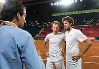 The Hague, The Netherlands, September 17, 2017,  Sportcampus , Davis Cup Netherlands - Chech Republic, Jan Willem de Lange interviewd the Dutch double Matwe Middelkoop (NED) (L) and Robin Haase (NED)<br /> Photo: Tennisimages/Henk Koster