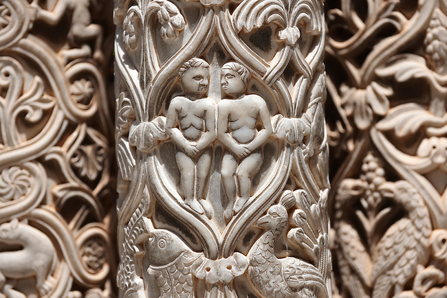 Adam and Eve sculpted in the columns of the cloisters of Monreale Cathedral - Palermo - Sicily Pictures, photos, images & fotos photography