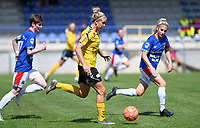 20190807 - DENDERLEEUW, BELGIUM : LSK's Elise Thorsnes pictured in a rush towards goal with defending Linfield's Kirsty McGuinness (left) and Linfield's Kelsie Burrows (right) during the female soccer game between the Norwegian LSK Kvinner Fotballklubb Ladies and the Northern Irish Linfield ladies FC , the first game for both teams in the Uefa Womens Champions League Qualifying round in group 8 , Wednesday 7 th August 2019 at the Van Roy Stadium in Denderleeuw  , Belgium  .  PHOTO SPORTPIX.BE for NTB  | DAVID CATRY