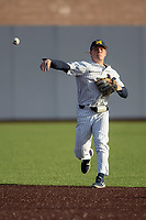 Michigan Wolverines shortstop Jack Blomgren (2) makes a throw to first base during the NCAA baseball game against the Eastern Michigan Eagles on May 8, 2019 at Ray Fisher Stadium in Ann Arbor, Michigan. Michigan defeated Eastern Michigan 10-1. (Andrew Woolley/Four Seam Images)