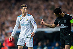 Cristiano Ronaldo (L) of Real Madrid reacts as Marcos Aoas Correa, Marquinhos (L), of Paris Saint Germain gives a thumb-up during the UEFA Champions League 2017-18 Round of 16 (1st leg) match between Real Madrid vs Paris Saint Germain at Estadio Santiago Bernabeu on February 14 2018 in Madrid, Spain. Photo by Diego Souto / Power Sport Images