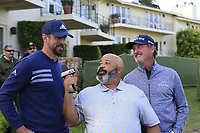 ESPN's Mike Collins interviews some NFL Green Bay Packers quarterback Aaron Rodgers and playing partner Jerry Kelly (USA) after Saturday's Round 3 of the 2018 AT&amp;T Pebble Beach Pro-Am, held over 3 courses Pebble Beach, Spyglass Hill and Monterey, California, USA. 10th February 2018.<br /> Picture: Eoin Clarke | Golffile<br /> <br /> <br /> All photos usage must carry mandatory copyright credit (&copy; Golffile | Eoin Clarke)
