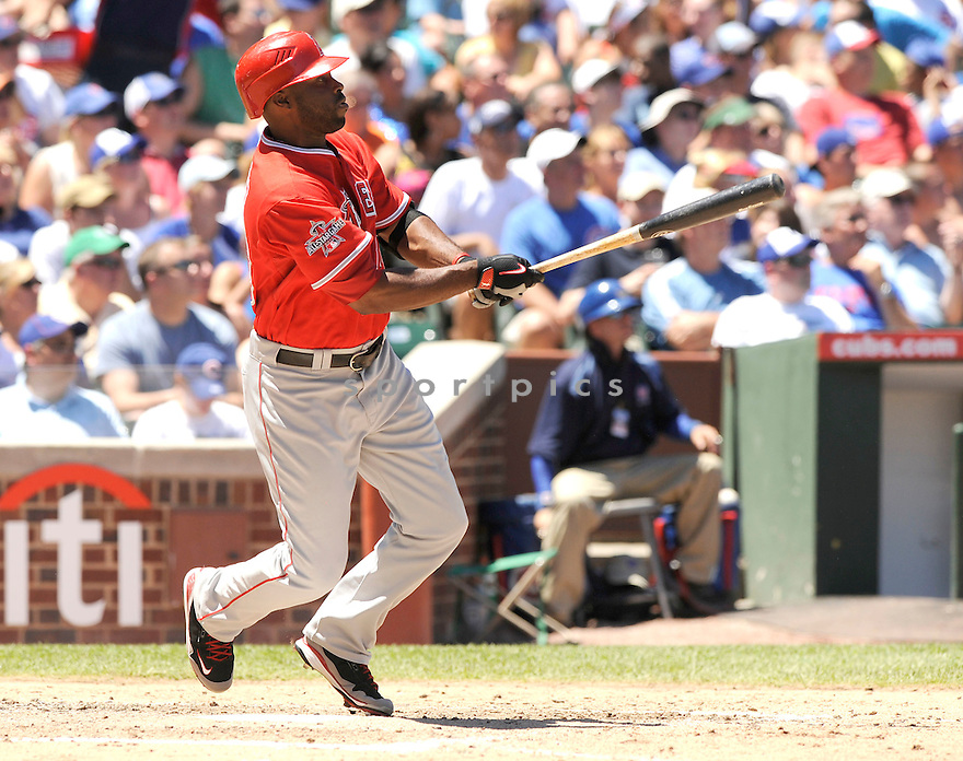 TORII HUNTER, of the Los Angeles Angels, in action during the Angels game against the Chicago Cubs at Wrigley Field in Chicago, IL on June 19, 2010.  ..The Angels won the game 12-0...