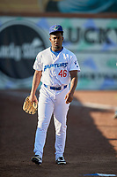 Yelson Cespedes (46) of the Ogden Raptors before the game against the Rocky Mountain Vibes at Lindquist Field on July 6, 2019 in Ogden, Utah. The Vibes defeated the Raptors 7-2. (Stephen Smith/Four Seam Images)