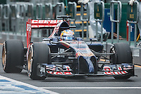 March 15, 2014: Jean-Eric Vergne (FRA) from the Scuderia Toro Rosso team prepares to leave pit lane for practice session three at the 2014 Australian Formula One Grand Prix at Albert Park, Melbourne, Australia. Photo Sydney Low.